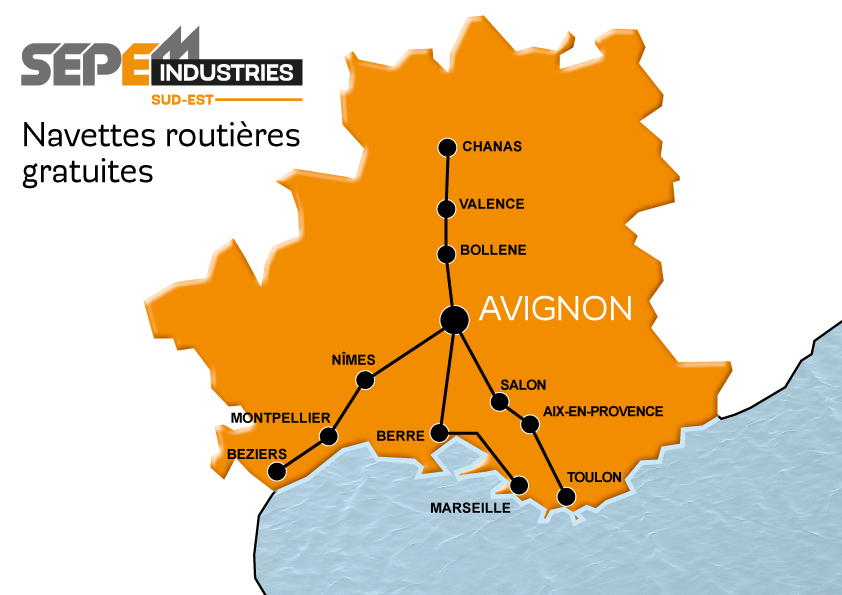 Carte des navettes routières gratuites - SEPEM Industries Sud-Est // Avignon